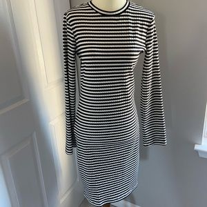 Back and white stripe ribbed dress; WORN ONCE